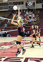 Photo by Randy Moll<br /> Lauren Little, Gentry senior, puts one across the net during play against Shiloh Christian at Gentry High School on Thursday, Sept. 10, 2015.