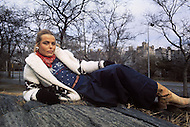 New York, NY, December 1974. Margaux Hemingway, granddaughter of writer Ernest Hemingway, and sister of the actress Mariel, has been the first fashion model who has been awarded a million dollars contract, by the company Faberg&eacute;, in 1970. <br />