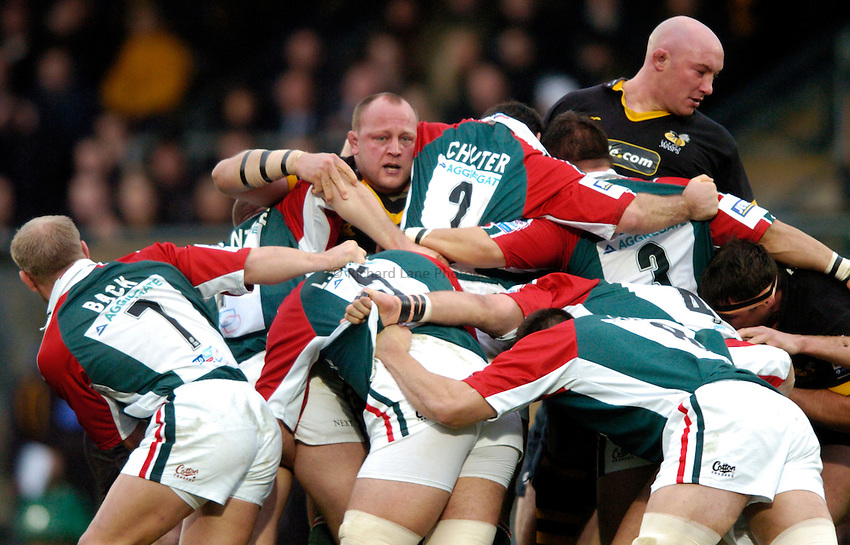 Photo: Richard Lane..London Wasps v Leicester Tigers. Heineken Cup. 05/12/2004..Will Green and Phil Greening pop up in the scrum.