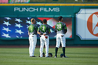 (L-R) Fort Wayne TinCaps outfielders Tyler Benson (1), Jawuan Harris (2), and Agustin Ruiz (20) stand for the National Anthem prior to the game against the West Michigan Whitecaps at Parkview Field on August 5, 2019 in Fort Wayne, Indiana. The TinCaps defeated the Whitecaps 9-3. (Brian Westerholt/Four Seam Images)