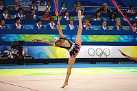 August 24, 2008; Beijing, China; Rhythmic gymnasts from Italy (here Fabrizia Ottavio) perform 5-ropes routine in the group All-Around final at 2008 Beijing Olympics. Copyright 2008 Tom Theobald.