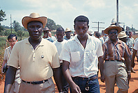 James Meredith March Through Mississippi, June 1966. Stokely Carmichael (center), Ralph Abernathy, along march route. Civil Rights. Black. Protest. African American. Personalities. Stokley Carmichael,.