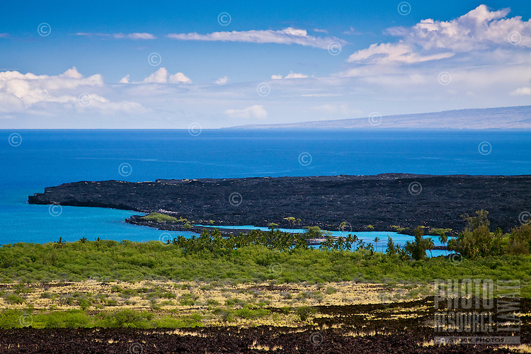A lava field and Kiholo Bay, Kohala Coast, Big Island.