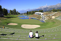 Best grandstand in golf the par3 13th hole during Saturday's Round 3 of the 2018 Omega European Masters, held at the Golf Club Crans-Sur-Sierre, Crans Montana, Switzerland. 8th September 2018.<br /> Picture: Eoin Clarke | Golffile<br /> <br /> <br /> All photos usage must carry mandatory copyright credit (&copy; Golffile | Eoin Clarke)
