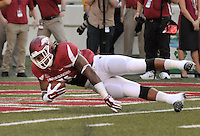 STAFF PHOTO BEN GOFF  @NWABenGoff -- 09/20/14 <br /> Arkansas defensive tackle Darius Philon dives into the end zone for a touchdown after he recoved a Northern Illinois fumble during the first quarter of the game in Reynolds Razorback Stadium in Fayetteville on Saturday September 20, 2014.