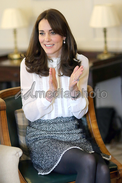17 February 2016 - London, England - Kate Duchess of Cambridge Catherine Katherine Middleton talks to children from the 'Real Truth' video blog that features on the Huffington Post website at Kensington Palace in London. The Duchess of Cambridge is supporting the launch of the Huffington Post UK's initiative 'Young Minds Matter' by guest editing the Huffington Post UK today from Kensington Palace. Photo Credit: Alpha Press/AdMedia