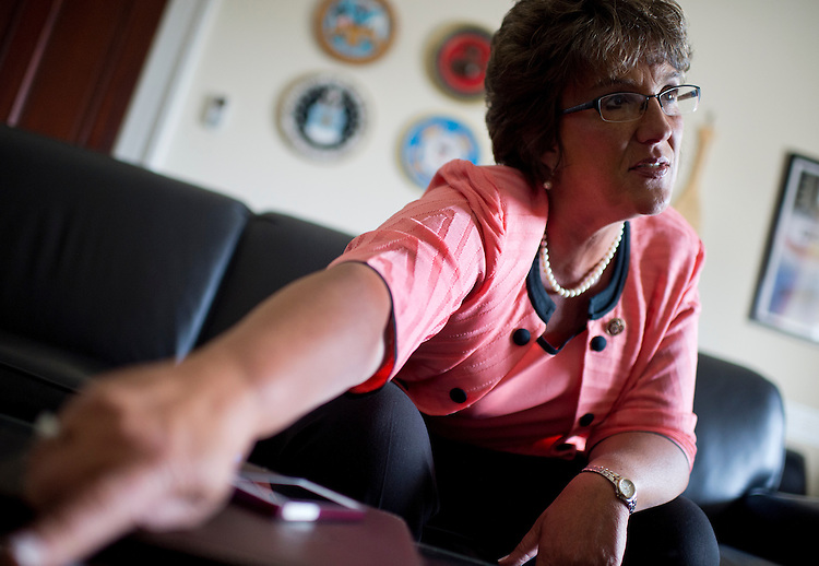 UNITED STATES - MAY 20: Rep. Jackie Walorski, R-Ind., is interviewed by Roll Call in her Cannon Building office. (Photo By Tom Williams/CQ Roll Call)