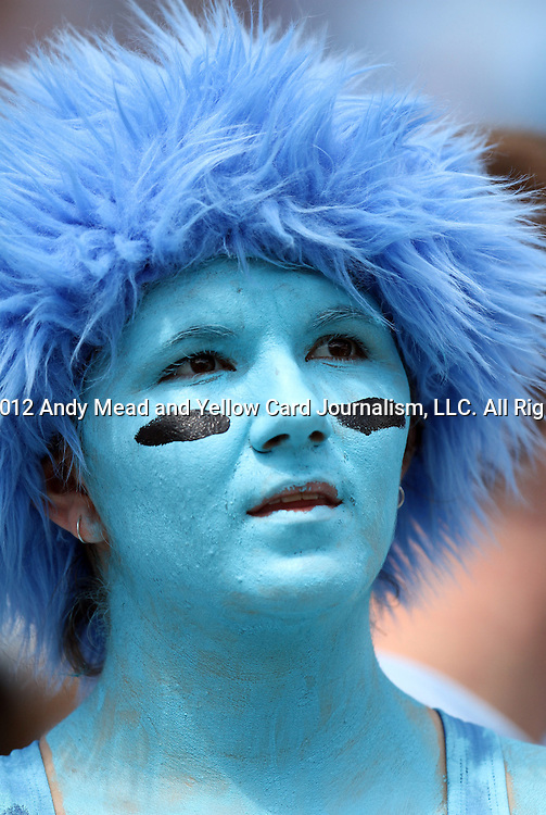 01 September 2012: UNC fan. The University of North Carolina Tar Heels played the Elon University Phoenix at Kenan Memorial Stadium in Chapel Hill, North Carolina in a 2012 NCAA Division I Football game.