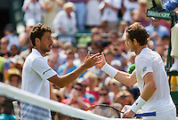 England, London, Juli 02, 2015, Tennis, Wimbledon, Robin Haase (NED) congratulates Andy Murray (GBR)<br /> Photo: Tennisimages/Henk Koster