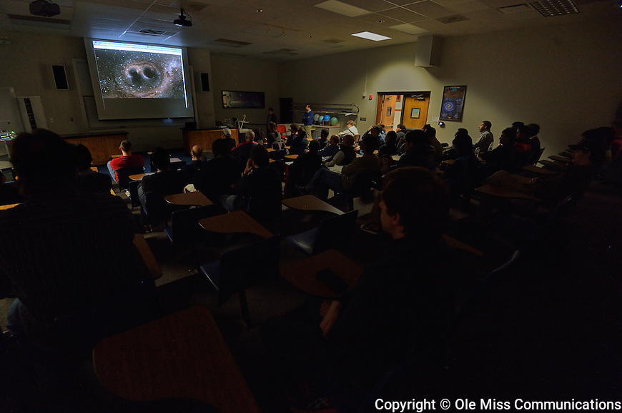 Students, faculty and staff join a live viewing event at the auditorium of the Department of Physics and Astronomy on Thursday, February 11, 9:30 a.m., as the National Science Foundation brings together scientists from Caltech, MIT, and the Laser Interferometer Gravitational-wave Observatory (LIGO) Scientific Collaboration at the National Press Club in Washington, D.C. for a status report on the effort to detect gravitational waves – or ripples in the fabric of space time. Photo by Robert Jordan/Ole Miss Communications