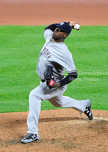 New York Yankees starting pitcher Luis Severino (40) works in the fifth inning against the Baltimore Orioles at Oriole Park at Camden Yards in Baltimore, MD on Friday, April 7, 2017.<br /> Credit: Ron Sachs / CNP<br /> (RESTRICTION: NO New York or New Jersey Newspapers or newspapers within a 75 mile radius of New York City)
