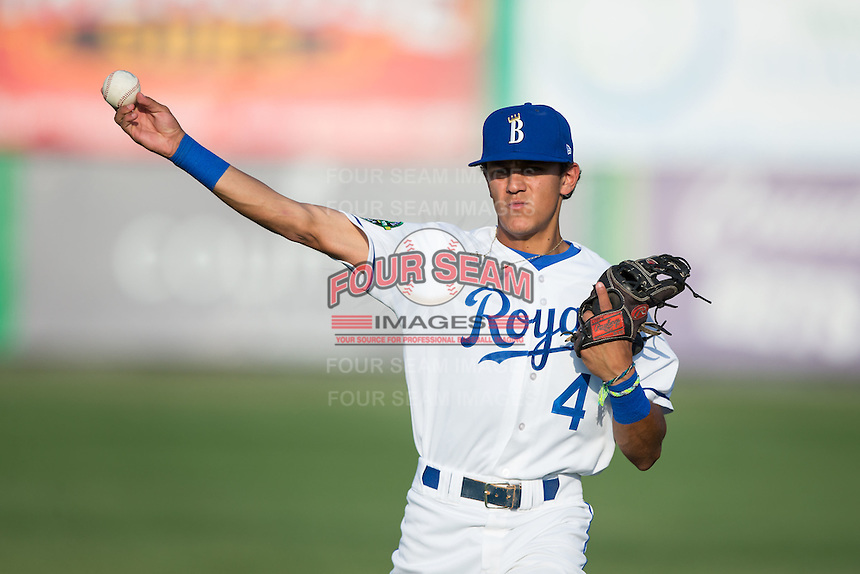 Burlington Royals shortstop Nicky Lopez (4) warms up in the outfield prior to the game against the Princeton Rays at Burlington Athletic Stadium on June 24, 2016 in Burlington, North Carolina.  The Rays defeated the Royals 16-2.  (Brian Westerholt/Four Seam Images)