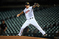 Mesa Solar Sox pitcher Michael Peoples (43), of the Cleveland Indians organization, during a game against the Salt River Rafters on October 22, 2016 at Sloan Park in Mesa, Arizona.  Salt River defeated Mesa 7-2.  (Mike Janes/Four Seam Images)