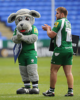 The London Irish mascot, Digger, and Tom Smallbone of London Irish thank the fans at the end of the Aviva Premiership match between London Irish and Harlequins at the Madejski Stadium on Sunday 1st May 2016 (Photo: Rob Munro/Stewart Communications)