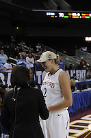 March 14, 2010.  Jayne Appel during an interview after the Stanford Cardinal beat the UCLA Bruins to win the 2010 Pac-10 Tournament.