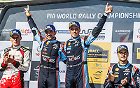 27th October 2019; Salou, Catalonia, Spain; World Rally Championship, Spain Rally;  The 3 top teams on the podium Winner Thierry Neuville and N.Gilsoul Hyundai Shell Mobis WRT	Hyundai