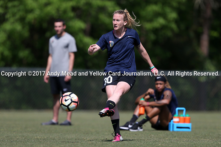 CARY, NC - APRIL 20: NC Courage trialist Megan Lindsay. The North Carolina Courage held a training session on April 20, 2017, at WakeMed Soccer Park Field 7 in Cary, NC.