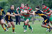 Steven Kennedy goes for the gap between Peter Mata and Liam Dunn. Counties Manukau Premier Club Rugby game between Waiuku and Bombay, played at Waiuku on Saturday July 5th 2010. Waiuku won 59 - 14 after trailing 12 - 14 at halftme.