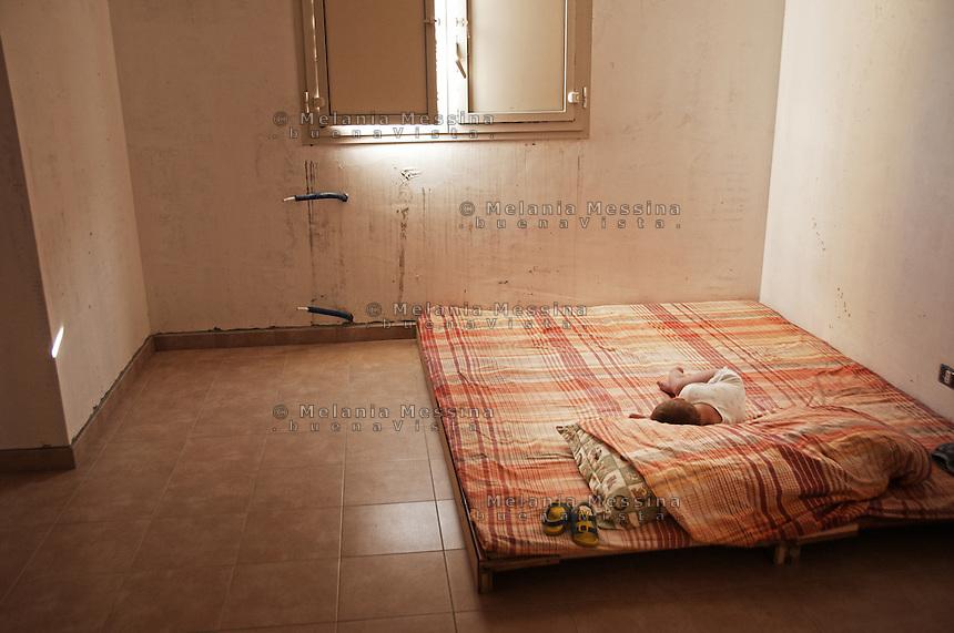 Sleeping baby in Zen district house.