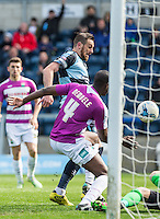 Paul Hayes of Wycombe Wanderers scores his goal making it 1 0 during the Sky Bet League 2 match between Wycombe Wanderers and Barnet at Adams Park, High Wycombe, England on 16 April 2016. Photo by Andy Rowland.