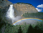 Yoho National Park, Canada<br /> Rainbow created in the spray from Takakkaw Falls plunging 380m into the Yoho River Valley in the Canadian Rockies