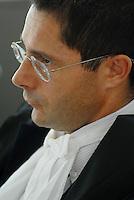L'Aquila. la seconda udienza del processo alla commissione grandi rischi. 1°ottobre 2011. Il giudice Marco Billi..