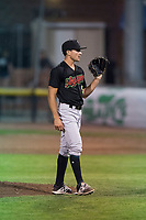 Great Falls Voyagers relief pitcher Vince Arobio (9) during a Pioneer League game against the Idaho Falls Chukars at Melaleuca Field on August 18, 2018 in Idaho Falls, Idaho. The Idaho Falls Chukars defeated the Great Falls Voyagers by a score of 6-5. (Zachary Lucy/Four Seam Images)