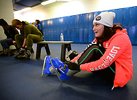 NWA Democrat-Gazette/ANDY SHUPE<br /> Kahlan Law, 15, of Siloam Springs puts on a pair of ice skates Friday, Nov. 29, 2019, as she and her relatives prepare to take to the ice to skate at the Jones Center in Springdale. The center is planning a winter skating camp Jan. 6 from 8 a.m. to 4 p.m. that will include a movie, craft and a chance to learn basic skating skills.
