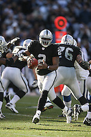 OAKLAND, CA - Quarterback JaMarcus Russell of the Oakland Raiders in action during a game against the Indianapolis Colts at McAfee Coliseum in Oakland, California on December 16, 2007. The Colts beat the Raiders 21-14. Photo by Brad Mangin