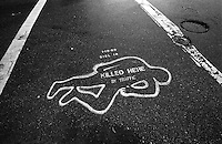 North America, United States of America, California, San Francisco, A marked death caused by traffic, &copy;Stephen Blake Farrington<br />