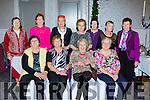 Enjoying the Young at heart Christmas lunch in the Killarney Oaks Hotel on Sunday were front row l-r: Joanie Buckley, Mai Curtin, Shirley Harris, Ana Thomas. Back row: Josephine Hayes, Mary Quirke, Liz barrett, Mai reidy, Kathleen McCarthy, Margaret Synon and Annette Sheehan