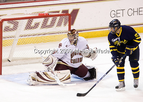 Parker Milner (BC - 35), Francois Ouimet (Merrimack - 21) (went wide) - The Boston College Eagles defeated the Merrimack College Warriors 4-3 on Friday, October 30, 2009, at Conte Forum in Chestnut Hill, Massachusetts.