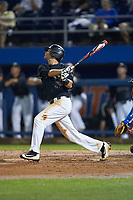 Bruce Steel (17) of the Wake Forest Demon Deacons follows through on his swing against the Florida Gators in Game Three of the Gainesville Super Regional of the 2017 College World Series at Alfred McKethan Stadium at Perry Field on June 12, 2017 in Gainesville, Florida. The Gators defeated the Demon Deacons 3-0 to advance to the College World Series in Omaha, Nebraska. (Brian Westerholt/Four Seam Images)