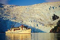 M/V Discovery anchored in front of Blackstone glacier, in Blackstone Bay, Prince William Sound, Alaska