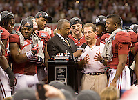 Alabama head coach Nick Saban talks with the audience after winning the BCS National Championship game against LSU at Mercedes-Benz Superdome in New Orleans, Louisiana on January 9th, 2012.   Alabama defeated LSU, 21-0.