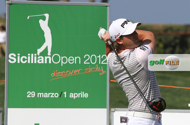 Matthew Baldwin (ENG) on the 1st on Day 4 of the 2012 Sicilian Open at Verdura Golf and Spa Resort, Sicily, Italy...(Photo Jenny Matthews/www.golffile.ie)