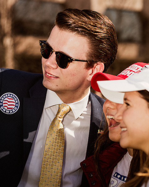 March 4, 2017. Raleigh, North Carolina.<br /> <br /> Ryan Fournier of Generation Onward, an organization helping to encourage social media engagement fro conservative millennials.<br /> <br /> Hundreds of people gathered on Halifax Mall to show their support for the the 45th president of the United States, Donald Trump. They said they are defending the president from what they see as relentless scorn.