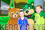 Pictured with Rupert the Bear and Tony the Tiger at the charity fun day at Corcorans furniture, Killarney on Sunday were Oisin O'Donnell and Jacqueline Tangney, Kilgarvan......