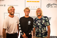 Turtle Bay Resort, North Shore, Oahu, Hawaii. (Tuesday December 6, 2016):Tanner Gudauskas (USA), Pat Gudauskas (USA) and Dane Gudauskas (USA). the annual Surfer Poll Awards were held tonight at the Turtle Bay Resort with the new world champion John John Florence (HAW) taking out the #1 spot on the Men's Reader Poll and Carissa Moore (HAW) #1 on the women's poll. Photo: joliphotos