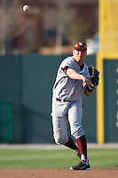 Brock Feldmann (1) throws to home during the NCAA matchup between the University of Arkansas-Little Rock Trojans and the University of Oklahoma Sooners at L. Dale Mitchell Park in Norman, Oklahoma; March 11th, 2011.  Oklahoma won 11-3.  Photo by William Purnell/Four Seam Images