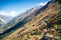 Trail running on the Europaweg, while on the Via Valais, a multi-day trail running tour connecting Verbier with Zermatt, Switzerland.