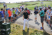 A large gallery welcomes Martin Kaymer (DEU) and Dustin Johnson (USA) to the 12th tee during Thursday's round 1 of the 117th U.S. Open, at Erin Hills, Erin, Wisconsin. 6/15/2017.<br /> Picture: Golffile | Ken Murray<br /> <br /> <br /> All photo usage must carry mandatory copyright credit (&copy; Golffile | Ken Murray)