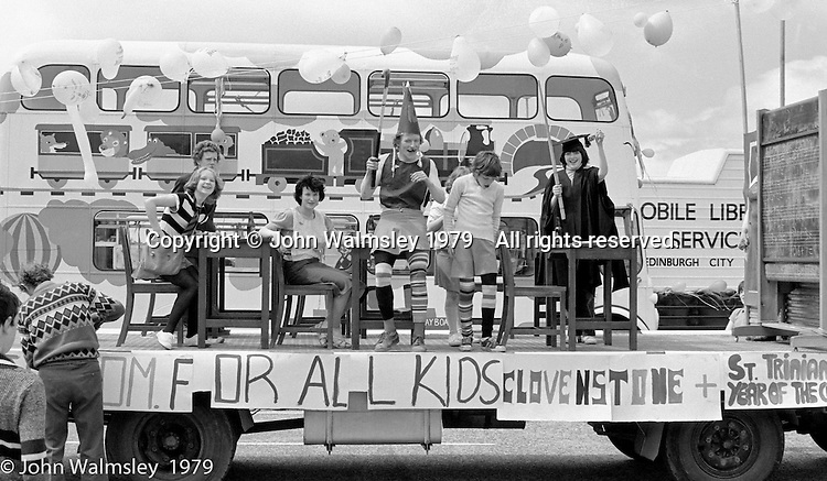 One of the floats at the Education Centre, Festival & Gala Day, Wester Hailes, Scotland, 1979.  John Walmsley was Photographer in Residence at the Education Centre for three weeks in 1979.  The Education Centre was, at the time, Scotland's largest purpose built community High School open all day every day for all ages from primary to adults.  The town of Wester Hailes, a few miles to the south west of Edinburgh, was built in the early 1970s mostly of blocks of flats and high rises.