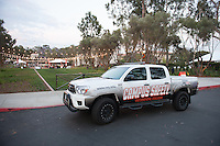 Campus Safety's new Toyota truck at the entrance to Occidental College.<br />