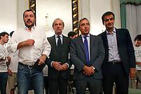 Matteo Salvini, Andrea Ronchi, Maurizio Gasparri e Raffaele Fitto <br /> Roma 24-09-2015 Incontro 'Per l'Italia - Ricostruiamo il centrodestra'.<br /> Photo Samantha Zucchi Insidefoto