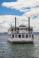 Lakeland Queen Paddle Steamer Ship, Lake Rotorua, New Zealand - stock photo, canvas, fine art print