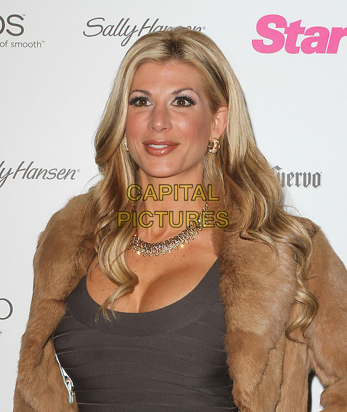 "Alexis Bellino.Star Magazine's ""All Hollywood"" Event With Performance By Karmin Held at AV Nightclub, Hollywood, California, USA..April 24th, 2012.headshot portrait gold necklace brown fur coat jacket grey gray top.CAP/ADM/KB.©Kevan Brooks/AdMedia/Capital Pictures."