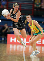 02.11.2008 Silver Ferns Wendy Telfer in action during the Holden International Netball test match between the Silver Ferns and Australia played at Brisbane Entertainment Centre in Brisbane Australia. Mandatory Photo Credit ©Michael Bradley.