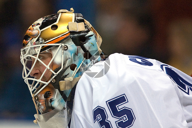 February 12,  2010       Toronto Maple Leafs goalkeeper Jean-Sebastien Giguere (35) during the game against the Blues.   The St. Louis Blues hosted the Toronto Maple Leafs on Friday February 12, 2010 at the Scottrade Center in downtown St. Louis.  The Blues won, 4-0.