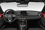 Stock photo of straight dashboard view of 2019 Mazda MX-5 Skycruise 2 Door Targa Dashboard